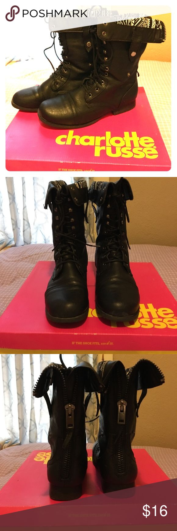 Charlotte Russe black boots Short to medium size boots. Lace up and zip up style boots. Black with black and white pattern inside. Size 9 women's. True to size. Used but still in good condition. Have original box. Clean & no damages. Charlotte Russe Shoes Combat & Moto Boots