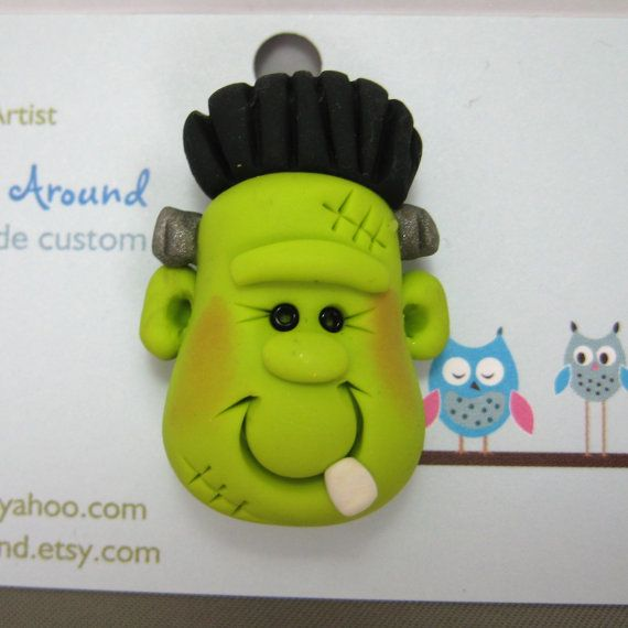 Polymer Clay Frankenstein Halloween Pin