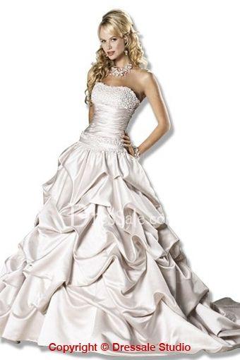 Cinderella Wedding Dress Features Taffeta Pick-up Highlight