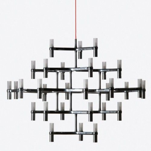 Nemo italianaluce crown pendant lamp pendant chandeliers with modular structure in die casted aluminum and sandblasted glass diffusers