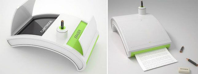 Print with pencil stubs with this insanely cool concept printer.: Pencil Nubs, Pencils Printer, Friendly Products, Concept Printer, Futuristic Printer, Printer Concepts, Pencil Lead