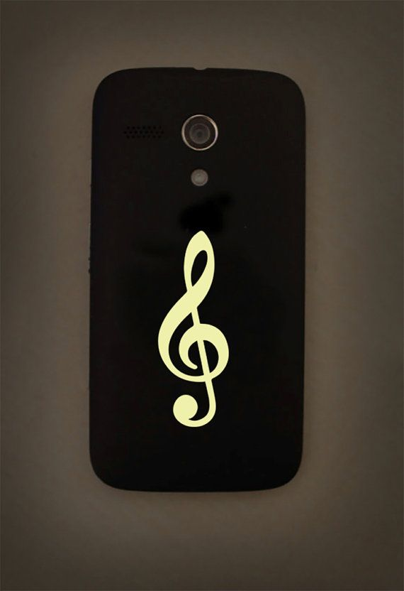 Treble clef decal, music glow in the dark decal, music note decor, music iphone…