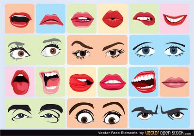 Face elements with different expressions Free Vector