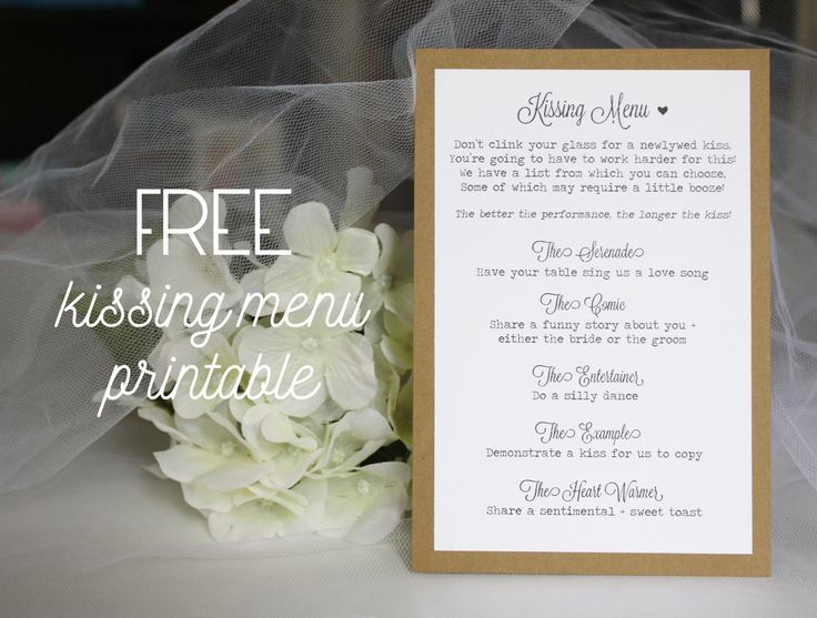 Welcome to my little corner of the Internet! Here's where I'll be sharing  new shop items as they become available, as well as other DIY projects!  I saw this idea for a 'kissing menu' for the reception online and I loved  it. What a fun alternative to the typical 'clink your glass to get the  bride and groom to kiss' tradition! I couldn't find a menu online that I  loved, so I decided to create my own. And I thought, why keep this to  myself? Free things as a bride-to-be are always a score…