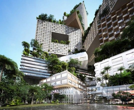 MVRDV, Jerde and Arup have combined forced to design Peruri 88 - a towering city in the sky for Jakarta, Indonesia. The multi-tiered vertical city is a conglomeration of several different buildings juxtaposed at different angles that balance the comforts of home with lush gardens in the sky    Read more: Peruri 88: MVRDV Unveils Sprawling Green-Roofed City in the Sky for Jakarta, Indonesia | Inhabitat - Sustainable Design Innovation, Eco Architecture, Green Building  Jerde Arup Peruri88