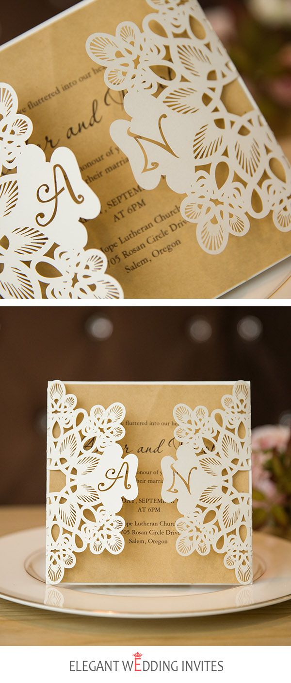 elegant wedding invites coupon codes%0A fancy ivory laser cut pocket and kraft invitation for wedding EWTS