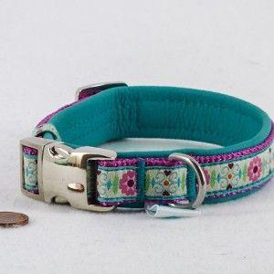 """Mini Leder Halsband """"Blumenkind"""", türkis  24,90€"""