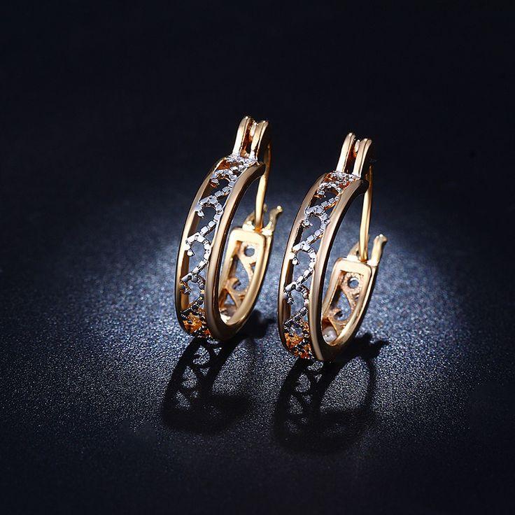 Gold 585 Gefüllt CZ Diamant Schmuck Exquisite Hochzeit Creolen Für Frauen Bijoux Brincos Boucle d'oreille Freies Verschiffen BE029