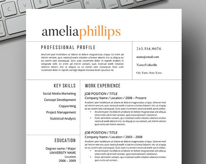 127 best Resume Template for Instant Download images on Pinterest - resume templates microsoft word 2003