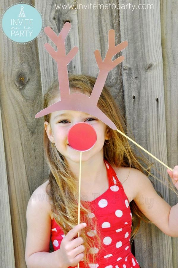 Reindeer Photo Prop Rudolph Photo prop Invite Me To Party: Christmas Photo Booth Props