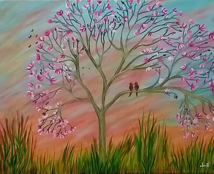 "Love Birds - 16""x20"" - original acrylic on canvas - ready-to-hang by SoniaFineArtist on Etsy"