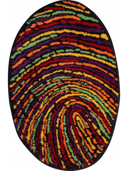 der witzige badteppich fingerprint in fr hlich bunten farben sieht wie ein fingerabdruck aus und. Black Bedroom Furniture Sets. Home Design Ideas