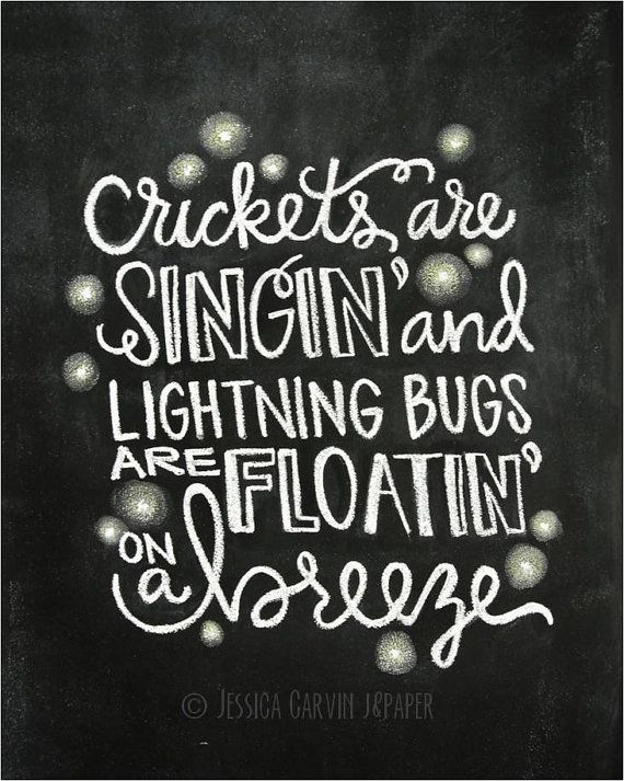 Chalkboard Print - Digital File 8x10 - Lightning Bugs - Fishing in the Dark Lyrics