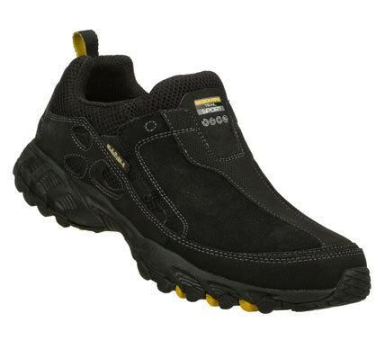 SKECHERS Mens Black Spider Plod Slip-on Sneakers