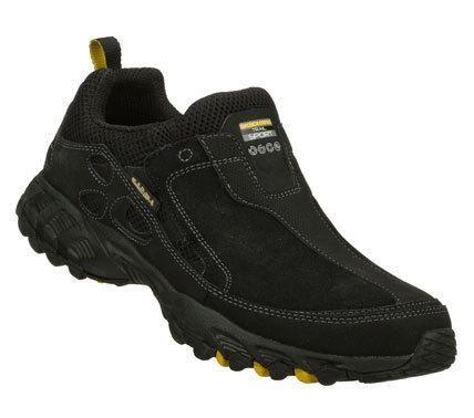 SKECHERS Mens Black Spider Plod Slip-on Sneakers