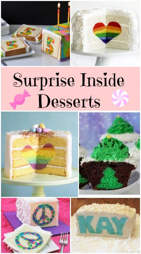 surprise inside desserts - how cute are all of the desserts with special messages inside!
