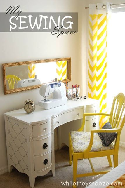 Get ideas and inspiration for your sewing room in this post  I now feel like I should sand my brown wood sewing table, and paint it pretty something like this...