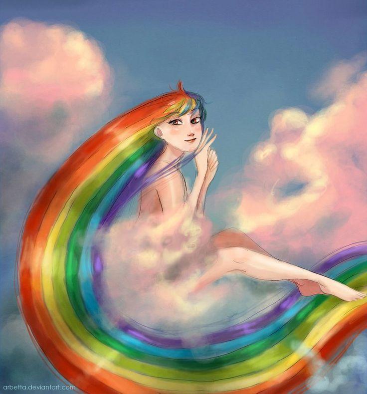 Картинки девочка с радугой