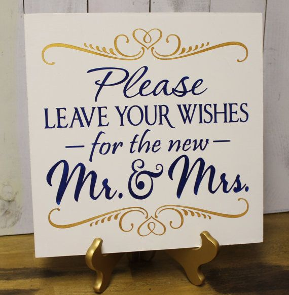 Guest Book/Please Leave Your Wishes For the New MR and MRS/Wedding Sign/Photo Prop/U Pick Color/Great Shower Gift/Vineyard/Navy Blue/Gold