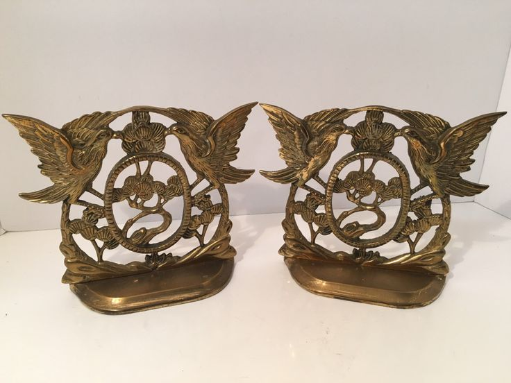 Brass Bookends Birds Tree Asian Design by VintageLoveAntiques on Etsy https://www.etsy.com/listing/491335719/brass-bookends-birds-tree-asian-design