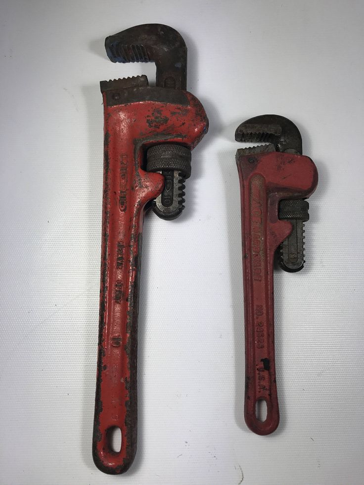 """Pipe wrench red painted handle USA vintage tool ridgid 10 and ace hardware 8"""" by peaceocake on Etsy https://www.etsy.com/listing/485677528/pipe-wrench-red-painted-handle-usa"""