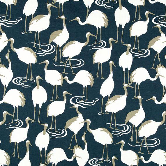 Navy White Bird Upholstery Fabric - Dark Blue Curtains with Birds - Animal Pillow Covers - Navy Linen Bedding Fabric - Custom Pillows Online