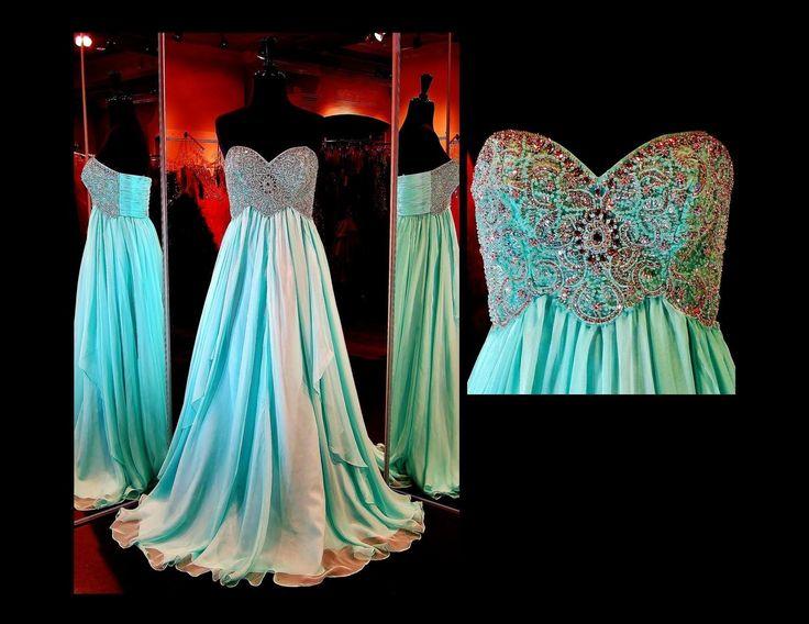 Aqua Strapless Chiffon Long Dress