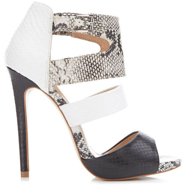Miss Selfridge CHIA Mono Snake Sandal (155 GTQ) ❤ liked on Polyvore featuring shoes, sandals, heels, white, white heeled sandals, strap heel sandals, white strap shoes, white strap sandals and heeled sandals