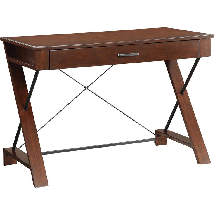 Rosalind Writing Desk With Decorative Steel Supports Pecan Finish