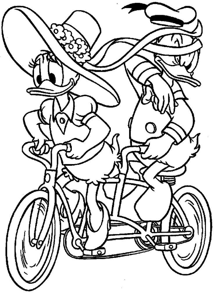 Donald Duck And Daisy A Bike Ride Together Coloring Pages For Kids Printable