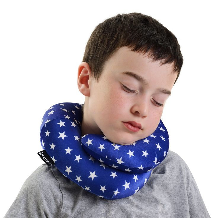 BCOZZY American Star- Chin Supporting Travel Pillow - NEW - 2018 Collection. Supports the Head, Neck and Chin in Maximum Comfort in Any Sitting Position. A Patented Product. Child Size, Blue/White