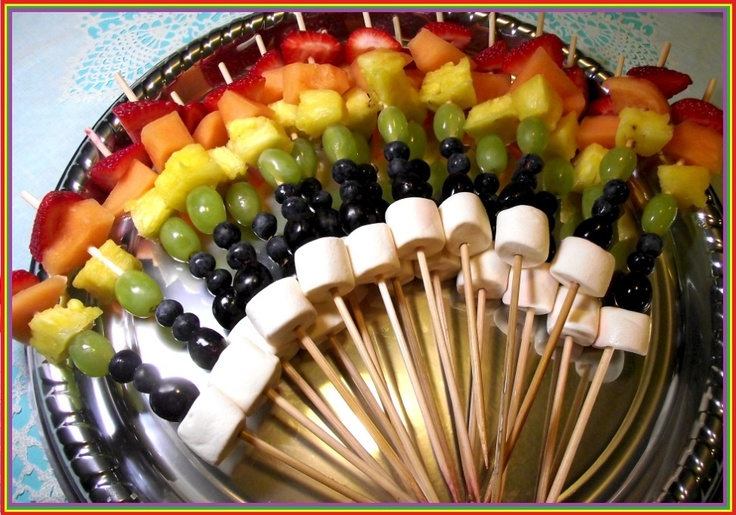 Rainbow Kabobs! I have seen them before but I added marshmallows for clouds! Take That! lol