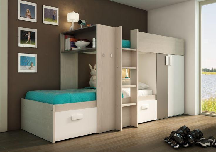 Stapelbed Pino zilver, ideaal voor kleine kamers. Deze opstelling is voorzien van laden en kledingkast Prijs van deze opstelling € 599,-