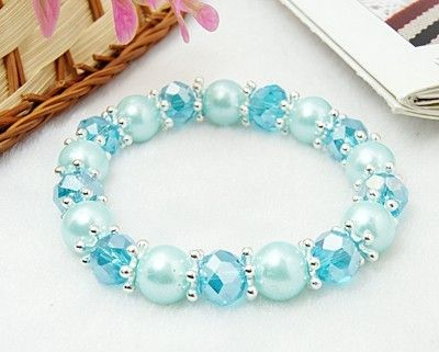 Glass Beads Bracelet, with Glass Pearl Beads and Alloy Spacer Beads, LightSkyBlue