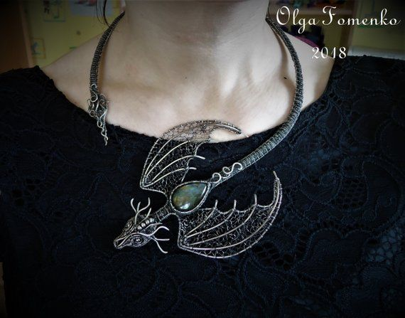 Dragon Necklace Open Necklace Wire Wrap Dragon Collar Necklace