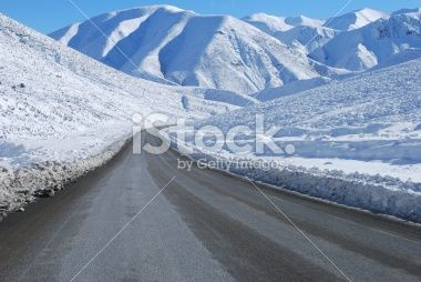 Great Alpine Highway Snowscene, NZ Royalty Free Stock Photo