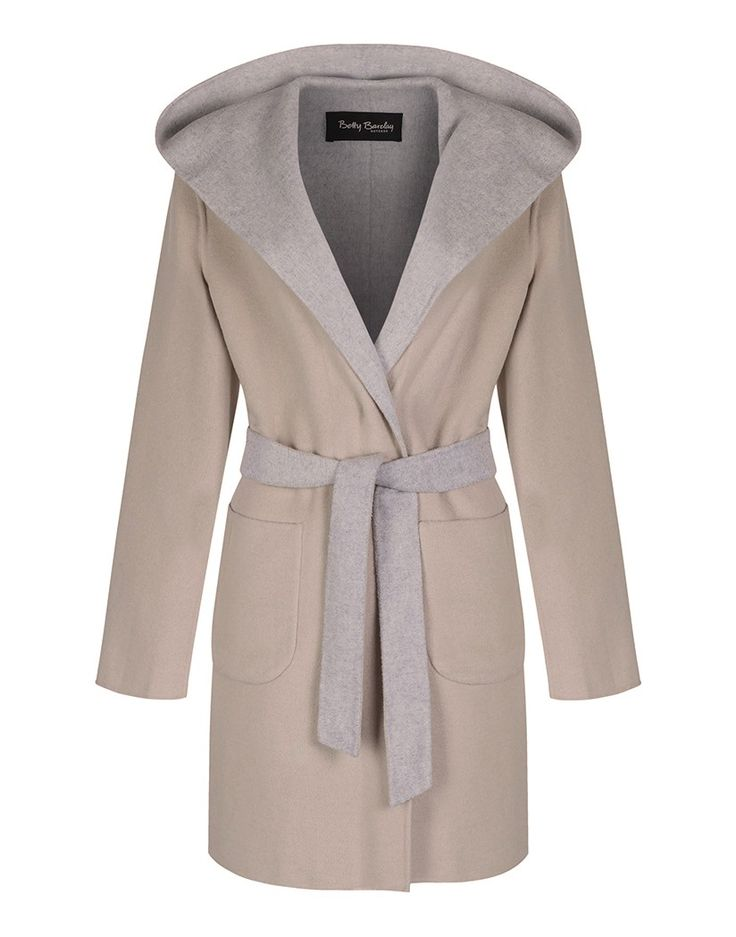 Betty Barclay Ladies' Blanket Wrap Wool Coat - Nature-Grey