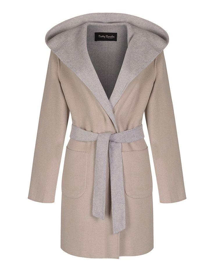 Betty Barclay Ladies' Blanket Wrap Wool Coat - Nature-Grey
