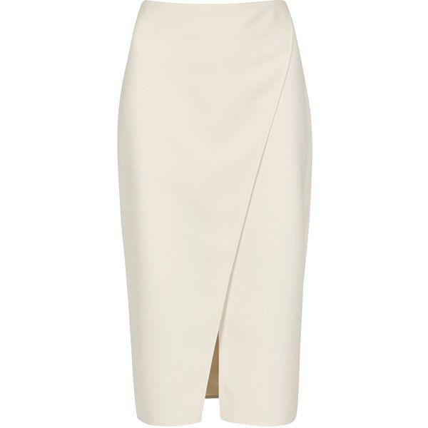 Acne Studios Pau cream wrap-effect pencil skirt found on Polyvore featuring skirts, wraparound skirt, cream skirt, wrap around skirt, acne studios and pencil skirts