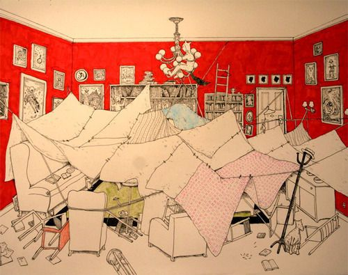 Liz Amini Holmes Illustration Of A Recent Blanket Fort Her Sons Created In Their Living Room