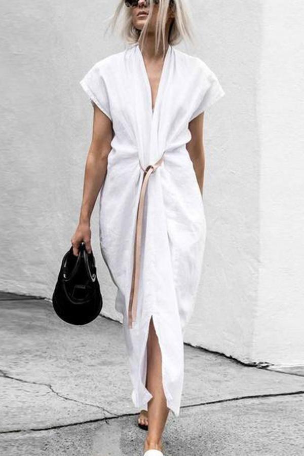 Chic V Collar Plain Belted Slit Maxi Dress 1