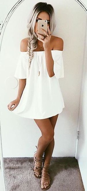 #summer #fashion off-the-shoulder white dress