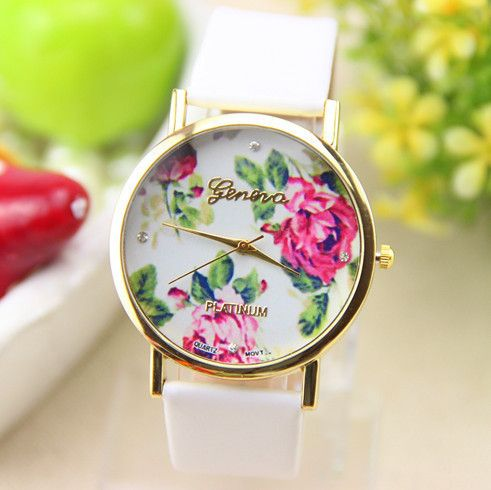 relogio feminino Wholesale HOT Selling Leather Strap Watches Women Dress Watch Rose Flower Pattern Watch Gift Free Shipping