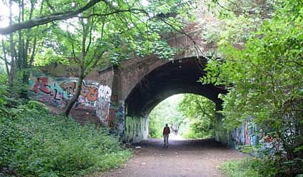 Parkland Walk, a former railway which is now used as a nature/art trail, Crouch End