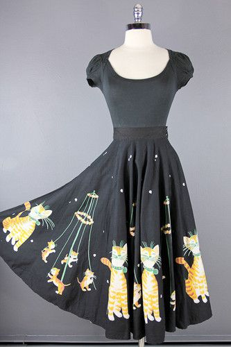 Vtg 50s RARE Black Playful Kitty Cats Novelty Full Swing Circle Dress Skirt XS | eBay