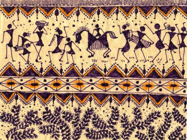 Title: Warli Procession  Medium: Painting - Color Markers On Special Handmade Paper  http://fineartamerica.com/featured/warli-procession-subhash-limaye.html
