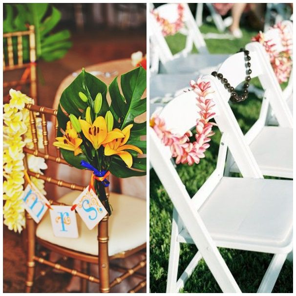 montage photo decoration chaises mariage hawai
