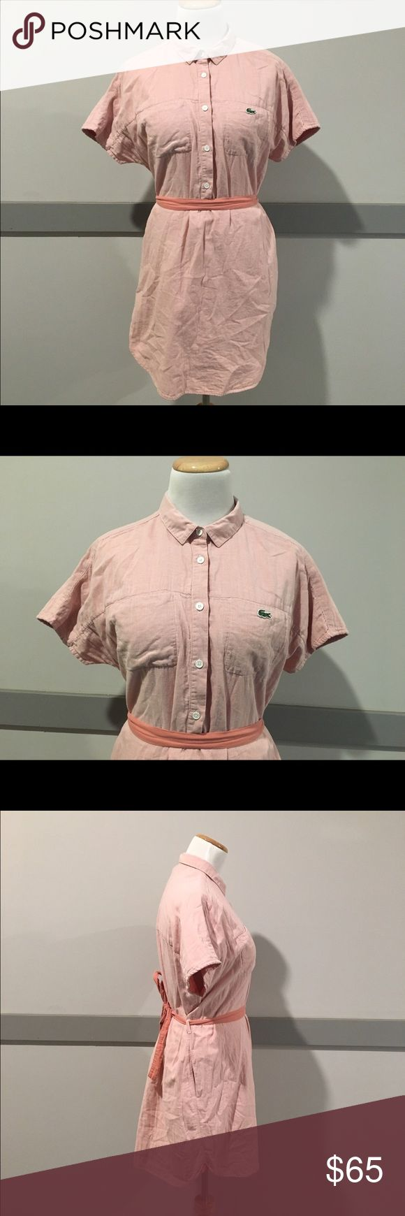 Lacoste Pink & white pinstripe shirt dress Perfect condition Lacoste pink pinstripe linen button up dress with tie belt. 100% cotton. Has pockets. 32 inches in length. Size 42 Lacoste Dresses Mini