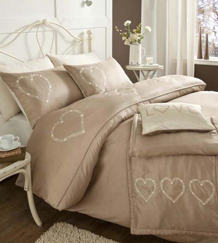 "Beige Shabby Chic ""Hearts"" Bedding - Duvet Cover Set or Runner or Cushion in Home, Furniture & DIY, Bedding, Bed Linens & Sets   eBay"