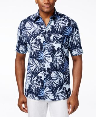 Tasso Elba Men's Floral-Print Short-Sleeve Shirt, Only at Macy's
